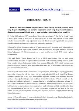 sırk 2015-59 2016 yılında uygulanacak emlak vergisi