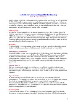 Gebelik ve Gastroözofajiyal Reflü Hastalığı