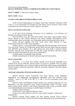 İlan Metni - Başbakanlık Devlet Personel Başkanlığı