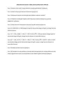 Makroekonomi Soruları I (Ödev olarak çözülüp teslim edilecek) Soru