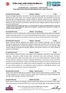 24 ARALIK 2015 – 2 Ocak 2016 – 9 GECE 10 GÜN