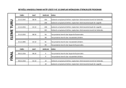 2015-2016 Eğitim Öğretim Yılı Münazara Etkinlikleri Programı