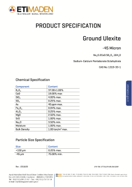 PRODUCT SPECIFICATION Ground Ulexite