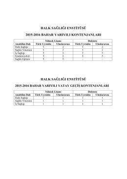 halk sağlığı enstitüsü 2015-2016 bahar yarıyılı
