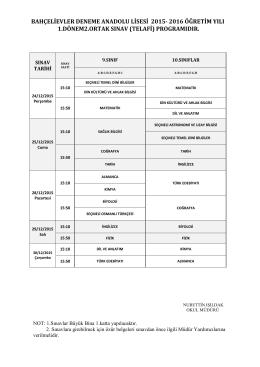 24-30/12/2015 tarihlerinde yapılacak olan,TELAFİ SINAVI