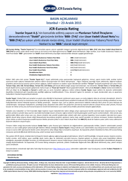 JCR-Eurasia Rating İnanlar İnşaat A.Ş.
