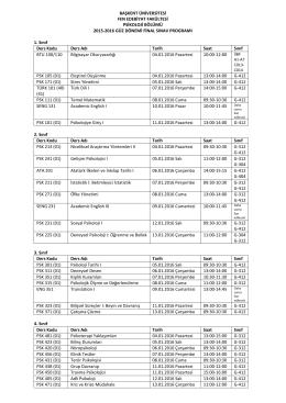 2015 Final Sınavı Tarihleri - Başkent Üniversitesi Psikoloji Bölümü