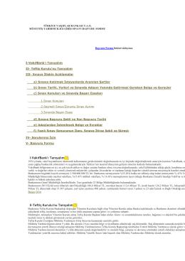 I-VakıfBank`ı Tanıyalım II-Teftiş Kurulu`nu Tanıyalım