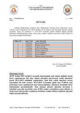 DUYURU ÖNEMLİ NOT - Galatasaray Üniversitesi