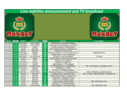 Live matches announcement and TV broadcast
