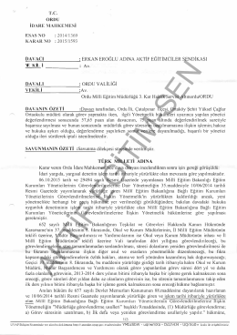Esastan iptal kararı 2015/1593 Ordu için tıklayınız