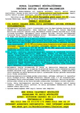 07.01.2016 Tarihli Yerinde Satış (Muhtelif Tank Hurdası) ihale listesi