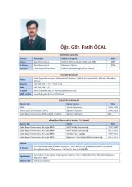 Öğr. Gör. Fatih ÖCAL - Elektrik-Elektronik Mühendisliği Bölümü