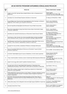 Sonuçlanan Projeler - Gıda, Tarım ve Hayvancılık Bakanlığı