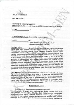 Yürütme durdurma kararı 2015/502 Çorum için tıklayınız