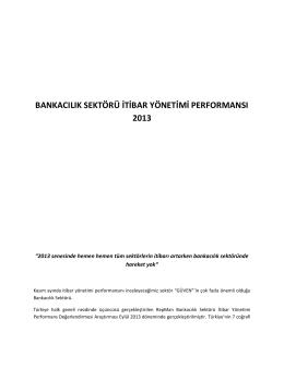 bankacılık sektoru ıtıbar yonetımı performansı 2013