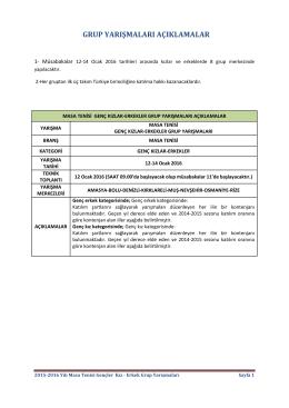 Açıklamalar ve Merkezler - Türkiye Masa Tenisi Federasyonu