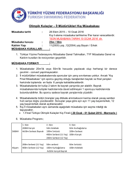 Olimpik Kulaçlar – İl Müdürlükleri Kış Müsabakası