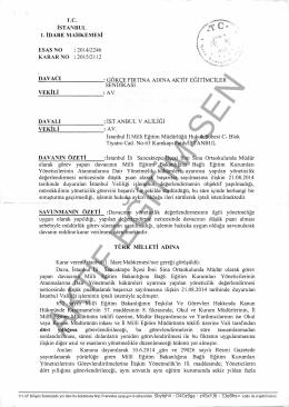Esastan iptal kararı 2015/2112 İstanbul1 için tıklayınız