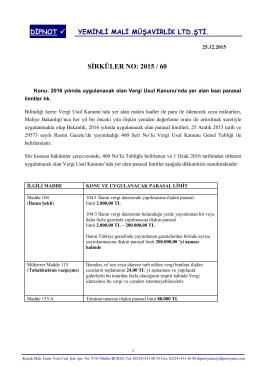 sırk 2015-60 2016 yılında uygulanacak vuk tutarları hk.