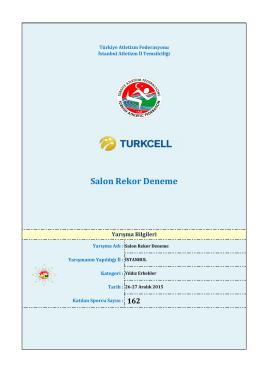Yıldız Erkekler - Türkiye Atletizm Federasyonu