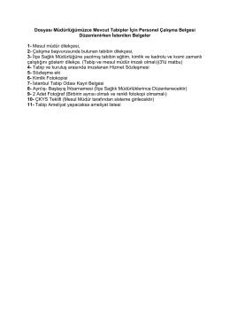 Dosyası Müdürlüğümüzce Mevcut Tabipler İçin Personel Çalışma