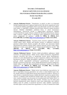 Anayasa Hukuku Dersi (Tek) Pratik Çalışma
