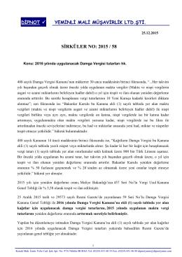 sırk 2015-58 2016 yılında uygulanacak damga vergisi