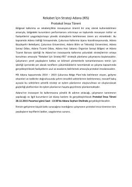 Rekabet İçin Strateji Adana (RİS) Protokol İmza Töreni