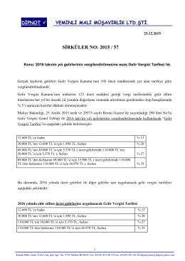 sırk 2015-57 2016 yılında uygulanacak gelir vergisi
