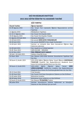 sdü fen bilimleri enstitüsü 2015-2016 eğitim öğretim yılı akademik