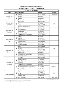 2015-2016 1. Dönem Ortak Sınav Takvimi