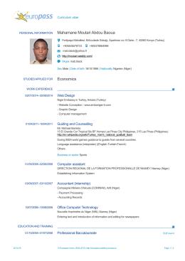 Mahamane Moutari Abdou Baoua Economics