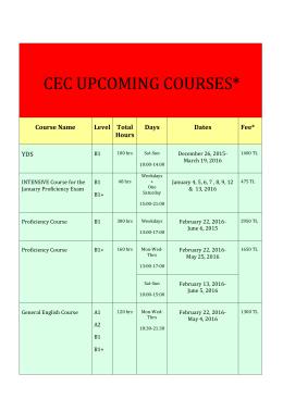 cec upcomıng courses - İstanbul Teknik Üniversitesi