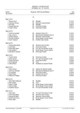 1 gün start listesi - İstanbul İl Yüzme Temsilciliği