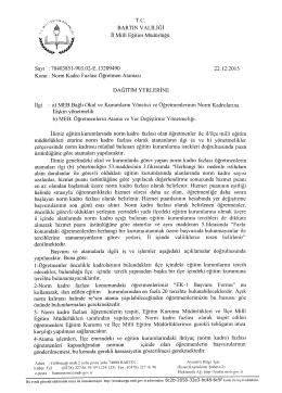 Resmi yazi ve işlem takvimi - Bartın İl Milli Eğitim Müdürlüğü