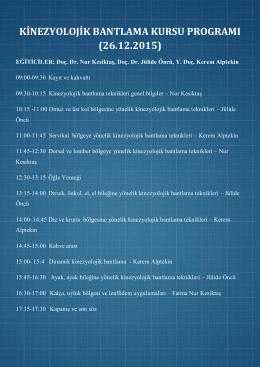 kinezyolojik bantlama kursu programı (26.12.2015)
