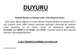 Atatürk İlkeleri ve İnkılap Tarihi I Vize Mazeret Sınavı 2015