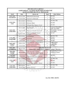 2015-2016 ETM Güz Yarılı Kesinleşmiş Final Programı