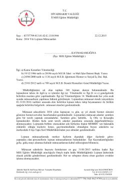 Resmi Yazı - Diyarbakır İl Milli Eğitim Müdürlüğü