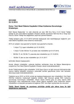 2015-065 Yeni Nesil Ödeme Kaydedici Cihaz Kullanma Zorunluluğu
