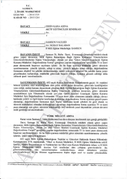 Esastan iptal kararı 2015/1261 Samsun2 için tıklayınız