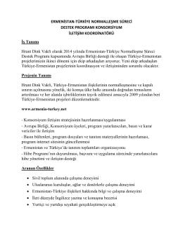 Ermenistan-Türkiye Normalleşme Süreci Destek