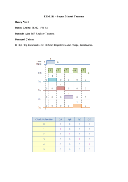 EEM 211 – Sayısal Mantık Tasarımı Deney No: 8 Deney Grubu