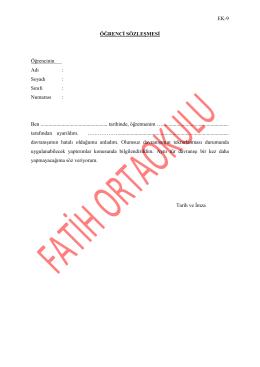 Öğrenci Sözleşmesi (Ek-9)