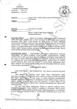 Esastan iptal kararı 2015/949 Sakarya1 için tıklayınız