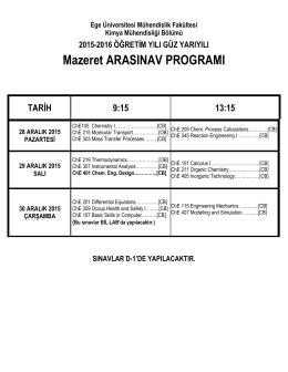 2015-2016 Öğretim Yılı Güz yarıyılı mazeret sınav programı ilan