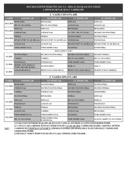 2. ve 3. yazılı ortak sınav programı - T.C Ziraat Bankası Balıkesir Fen