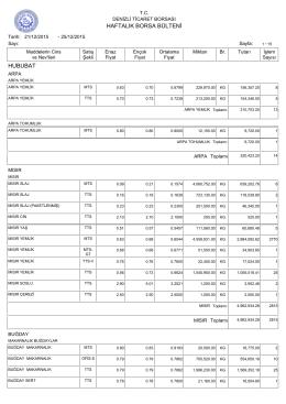 25 Aralik Haftalık Bülten - Denizli Ticaret Borsası