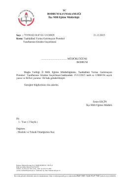 TC BODRUM KAYMAKAMLIĞI İlçe Milli Eğitim Müdürlüğü Sayı
